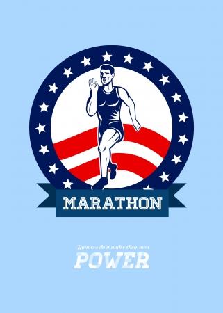 fitness training: Poster wenskaart illustratie toont een Marathon road runner jogger fitnesstraining weg lopen met Amerikaanse sterren en strepen in de achtergrond binnen cirkel met woorden Lopers doen het op eigen kracht. Stockfoto