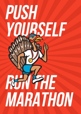 runner up: Poster greeting card illustration showing a wild turkey run trot running runner thumbs up wearing medal done in cartoon style with words Push yourself to the limit, Run the Marathon.