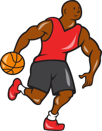 dribbling: Illustration of a basketball player dribbling ball on isolated white background done in cartoon style.