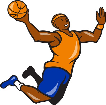 layup: Illustration of a basketball player dunking rebounding lay up ball set isolated white background done in cartoon style.