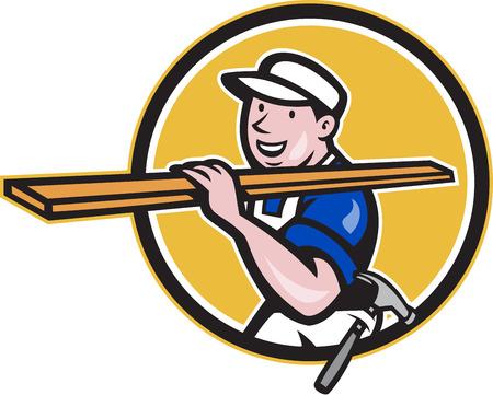 maderas: Ilustraci�n de un trabajador de la construcci�n comerciante carpintero llevando le�a madera de madera en el hombro caminando dentro de c�rculo sobre fondo blanco aislado hecho en estilo de dibujos animados. Vectores