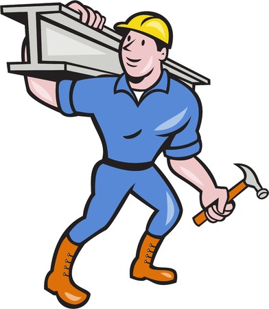 construction worker cartoon: Illustration of construction steel worker carpenter carrying i-beam girder on shoulder on isolated white background done in cartoon style. Illustration