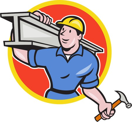steel worker: Illustration of construction steel worker carpenter carrying i-beam girder on shoulder set inside circle on isolated white background done in cartoon style. Illustration