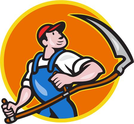 guadaña: Ilustración de un trabajador agrícola agricultor titular frente frente a la guadaña dentro del círculo sobre fondo blanco aislado hecho en estilo de dibujos animados