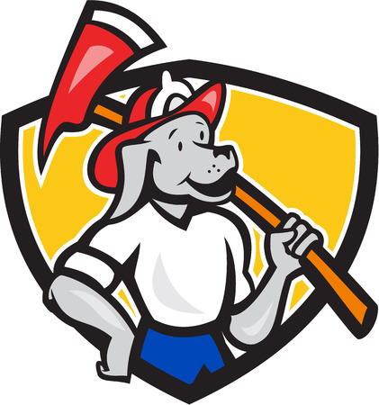 brandweer cartoon: Illustratie van een mascotte hond hond brandweerman brandweerman hulpverlener met vuur bijl op zoek naar kant set binnen schild gedaan in cartoon stijl. Stock Illustratie