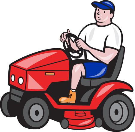 Illustration de mâle jardinier circonscription fauchage avec le tour sur tondeuse côté face fait dans le style de bande dessinée sur fond blanc.