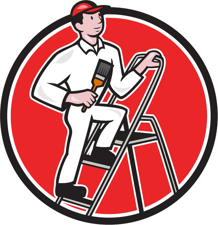 Illustration of a House painter with paintbrush standing on ladder on isolated white background done in cartoon style. Vector