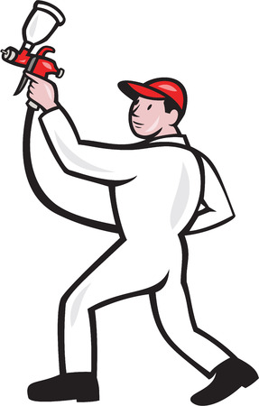 Illustration of a painter spraying with spray paint gun viewed from the side on isolated white background done in cartoon style. Vector