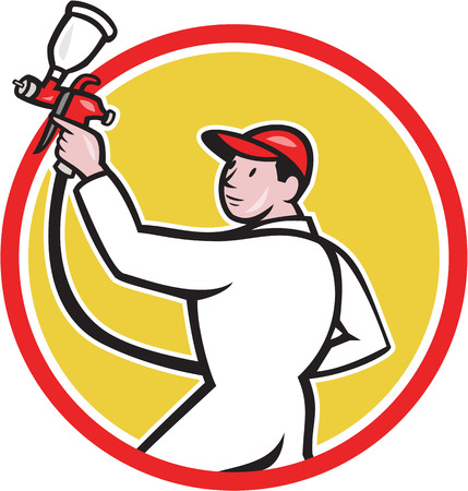 Illustration of a painter spraying with spray paint gun viewed from the side set inside circle on isolated white background done in cartoon style. Vector