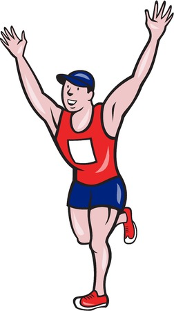 runner up: Illustration of a happy marathon runner running with hands up winning finishing race done in cartoon style on isolated white background
