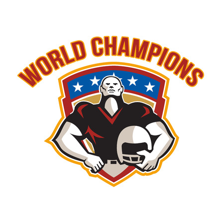 defensive: Illustration of an american football gridiron tackle linebacker player hand on hip holding helmet facing front set inside crest shield with stars done in retro style with words World Champions.