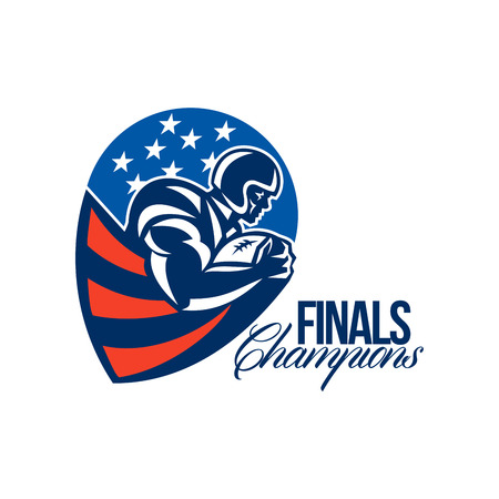 running back: Illustration of an american football gridiron rushing running back player running with ball facing side set inside shield shape done in retro style with words Finals Champions.