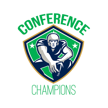 Illustration of an american football gridiron player center with hand on ball ready to snap facing front set inside crest shield with stars done in retro style with words Conference Champions. Stock Photo