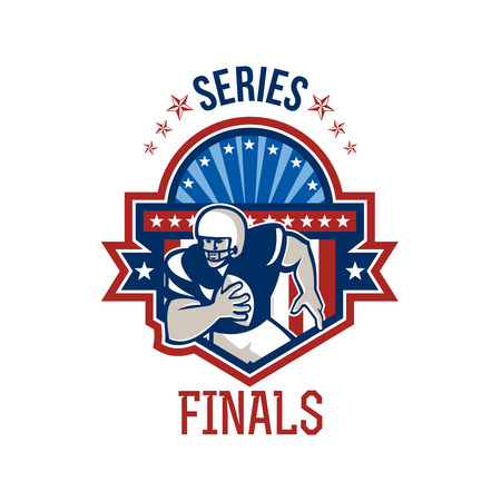 gridiron: Illustration of an american football gridiron quarterback player throwing ball facing front set inside crest shield with ribbon, stars and sunburst done in retro style with words Series Finals.
