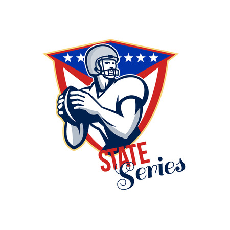 quarterback: Illustration of an american football gridiron quarterback player throwing ball facing side set inside crest shield with stars and stripes flag done in retro style with words State Series.