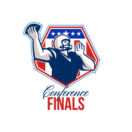 quarterback: Illustration of an american football gridiron quarterback player throwing ball facing side set inside crest shield with stars and stripes flag done in retro style with words Conference Finals. Stock Photo