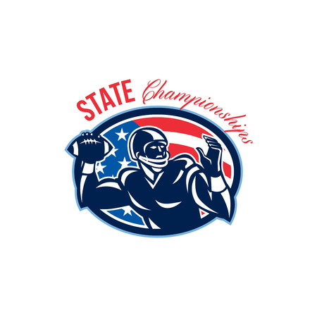 Illustration of an american football gridiron quarterback QB player throwing ball facing side set inside oval with USA stars and stripes flag done in retro style with words State Championships. Stock Photo