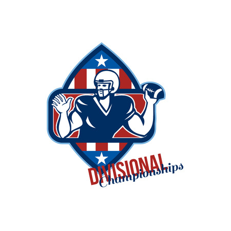 stipes: Illustration of an american football gridiron quarterback player throwing ball facing side set inside crest shield with stars and stripes flag done in retro style with words Divisional Championships. Stock Photo