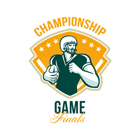 gridiron: Illustration of an american football gridiron runningback player running with ball set inside crest shield done in retro style with words Championship Game Finals. Stock Photo