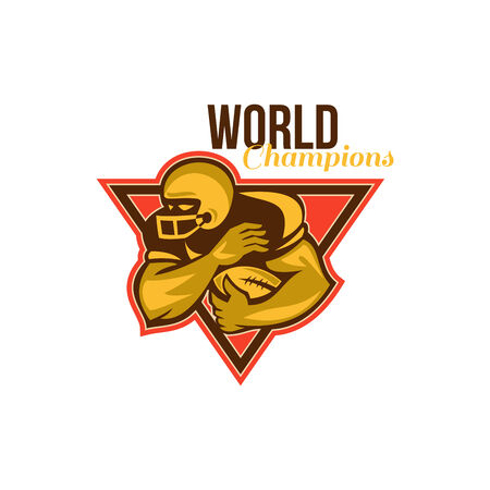 scat: Illustration of an american football gridiron running back player running with ball facing side done in retro style set inside triangle with words World Champions. Stock Photo