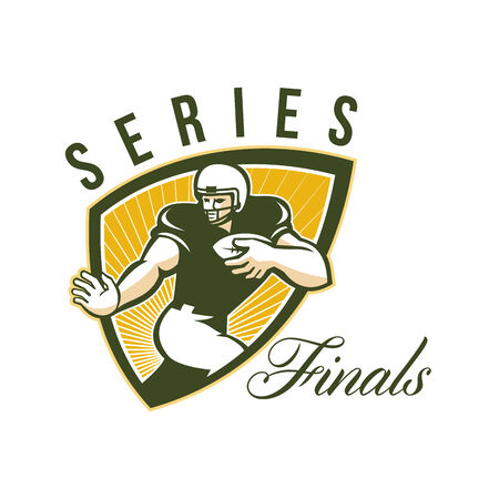 scat: Illustration of an american football gridiron running back player running with ball facing front done in retro style set inside shield with words Series Finals.