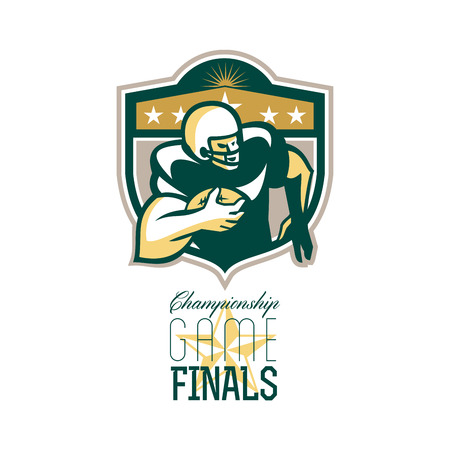 scat: Illustration of an american football gridiron wide receiver running back player running with ball facing side set inside shield with stars done in retro style with words Championship Game Finals. Stock Photo
