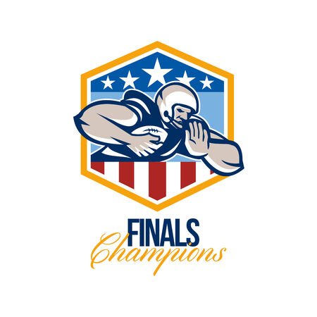 running back: Illustration of an american football gridiron running back player running with ball facing front fending off with arm set inside USA stars and stripes crest shield done in retro style with words Finals Champions.