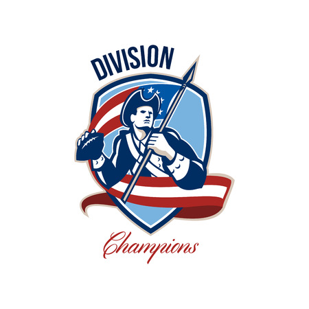 quarterback: Illustration of an american patriot soldier football gridiron quarterback passing ball facing side carrying stars and stripes flag set inside crest shield done in retro style with words Division Champions.