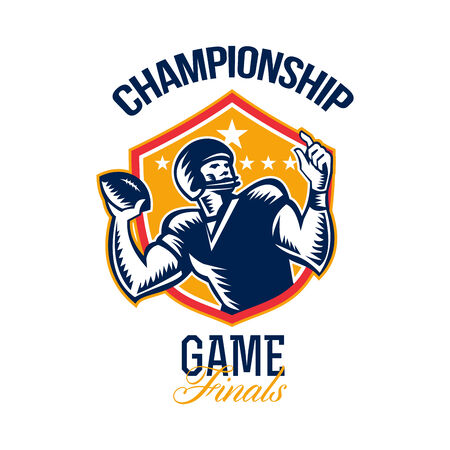 quarterback: Illustration of an american football gridiron quarterback player throwing ball facing side set inside crest shield with stars done in retro woodcut style with words Championship Game Finals. Stock Photo