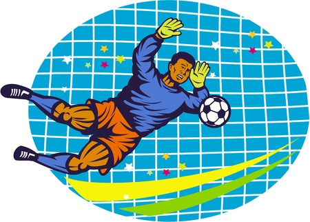 goal keeper: Illustration of a goalie goal keeper football player saving soccer ball with net  done in retro style