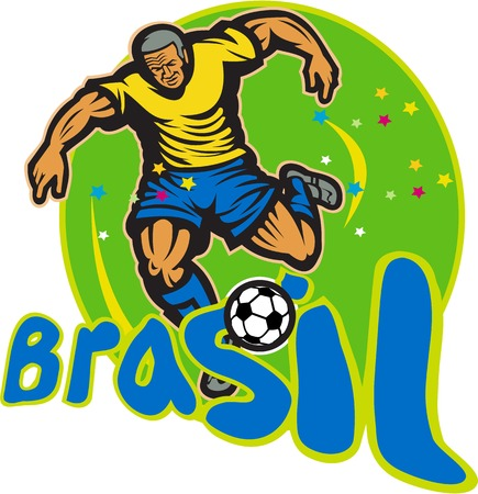 brasil: Illustration of a Brazil football player kicking soccer ball in round background with words Brasil done in retro style  Illustration