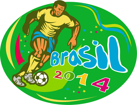 ova: Illustration of a Brazil football player kicking soccer ball set inside ova in isolated background with words Brasil 2014 done in retro style.