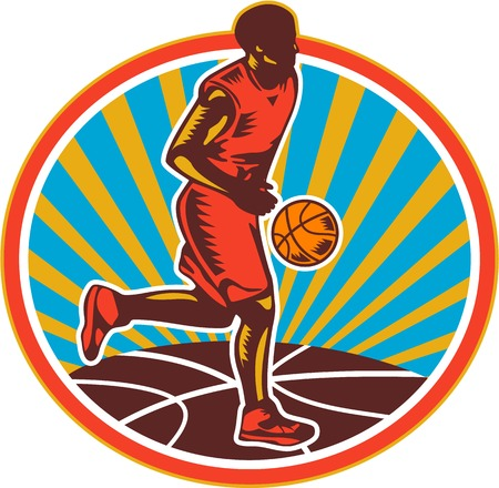 facing: Illustration of a basketball player dribbling ball facing front set inside circle with ball and sunburst on isolated white background.