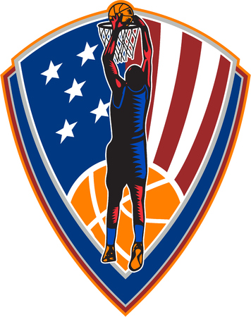 dunking: Illustration of a basketball player dunking rebounding ball set inside American stars and stripes flag shield crest done in retro style on isolated background. Illustration