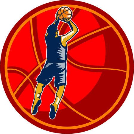 jump shot: Illustration of a basketball player jump shot jumper shooting jumping set inside giant ball on isolated white background. Illustration