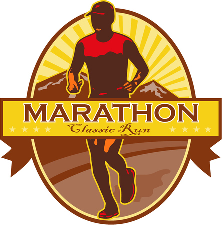 Illustration of marathon triathlete runner running with mountains in background set inside oval done in retro style with words Maratohn Classic Run.
