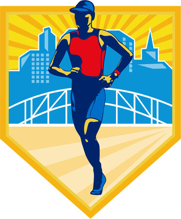 triathlete: Illustration of marathon triathlete runner running with urban buildings and bridge in background set inside shield done in retro style.