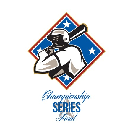 baseball diamond: Illustration of a american baseball player batter hitter batting with bat set inside diamond shape with stars done in retro style with words Championship Series Final Stock Photo