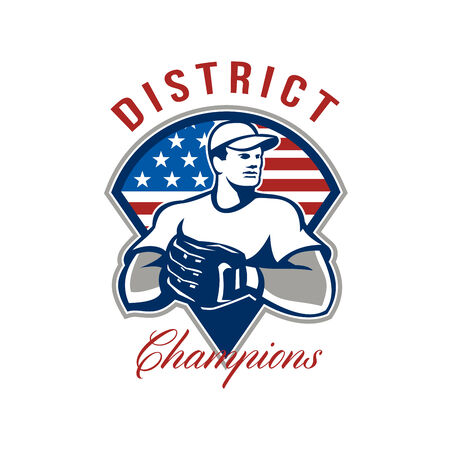 baseball pitcher: Illustration of an american baseball player pitcher outfilelder with glove set inside triangle with USA stars and stripes flag with words District Champions.