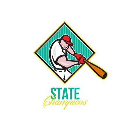 baseball diamond: Illustration of a american baseball player batter hitter batting with bat inside diamond shape done in cartoon style with words State Champions.