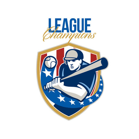 hitter: Illustration of a american baseball player batter hitter holding bat batting set inside crest shield shape with stars and stripes done in retro style with words League Champions. Stock Photo