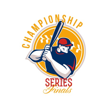 hitter: Illustration of an american baseball player batter hitter batting set inside circle facing side done in retro style with words Championship Series Finals.