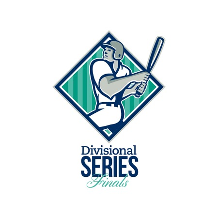 baseball diamond: Illustration of a american baseball player batter hitter batting set inside diamond shape with stars and stripes done in retro style with words Divisional Series Finals. Stock Photo