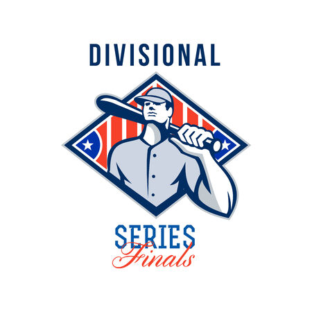 baseball diamond: Illustration of a american baseball player batter hitter holding bat on shoulder set inside diamond shape with stars and stripes done in retro style with words Divisional Series Finals.
