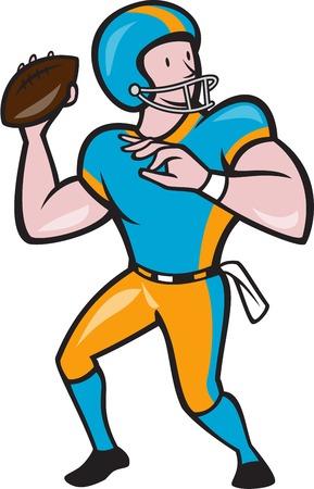 アメリカン フットボール アメフトのイラストの漫画のスタイルで行われる分離の背景の上を向いているプレーヤーが投げるボール クォーター バッ