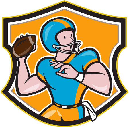 gridiron: Illustration of an american football gridiron quarterback player throwing ball facing side set inside crest shield in background done in cartoon style. Illustration