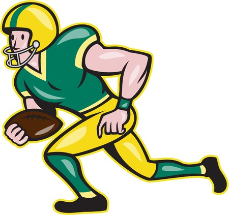 running back: Illustration of an american football gridiron wide receiver running back player running with ball facing side set in isolated background done in cartoon style.