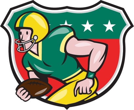 scat: Illustration of an american football gridiron wide receiver running back player running with ball facing side set inside shield with stars in background done in cartoon style. Illustration