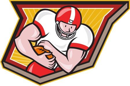 gridiron: Ilustraci�n de un campo de juego de f�tbol americano corriendo jugador corriendo con la pelota frente a defenderse delante dentro de escudo hecho en estilo retro.