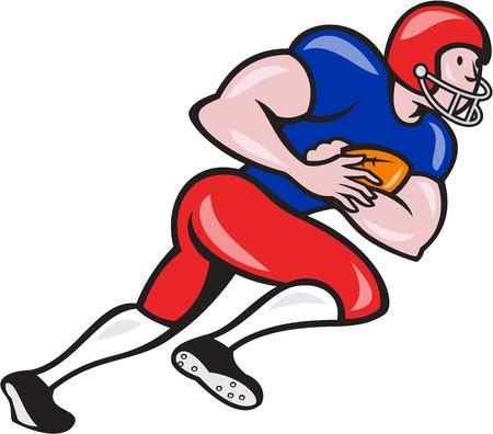 scat: Illustration of an american football gridiron running back player running rushing with ball facing side on isolated background done in cartoon style. Illustration